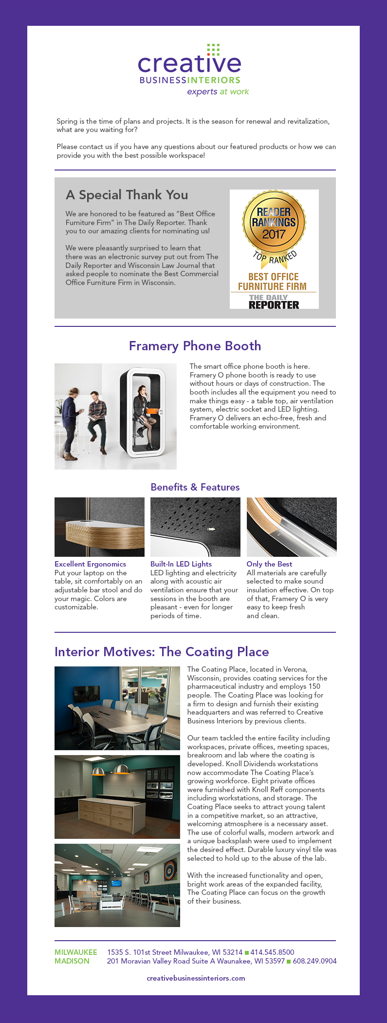 May eNewsletter | Creative Business Interiors