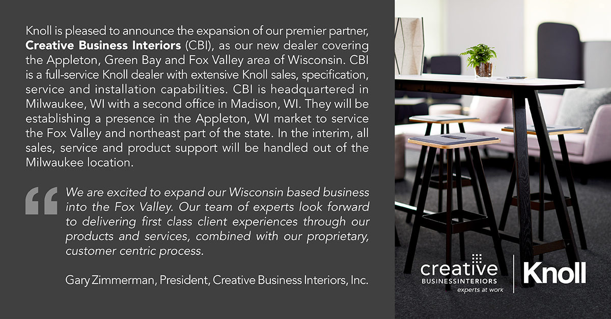 Announcement We Are Excited To Expand Our Business Into The Fox Valley Creative Business Interiors Commercial Interior Design And Office Furniture In Milwaukee Madison